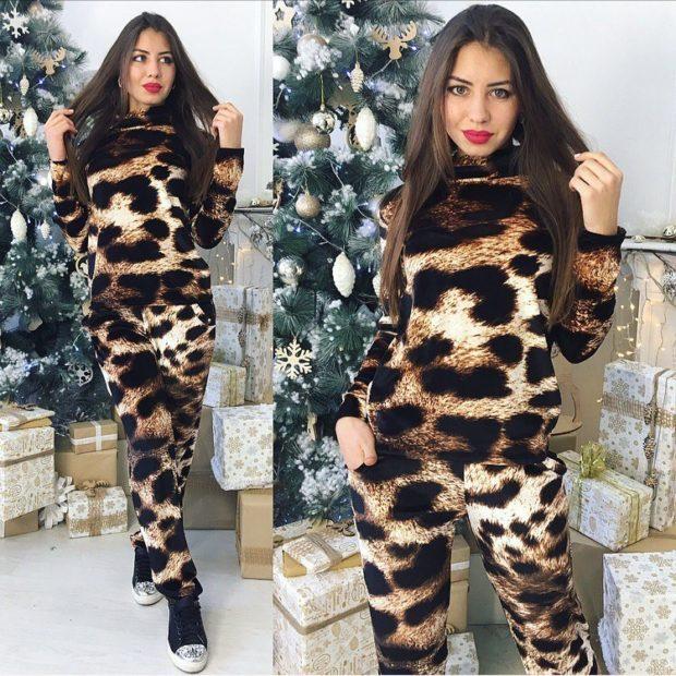 леопардовый костюм лосины кофточка
