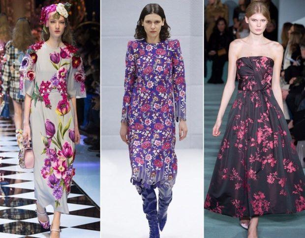 Модные принты осень зима 2019 2020: платья длинные в цветы с рукавом без
