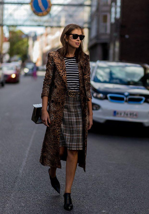 леопардовый принт пальто миди