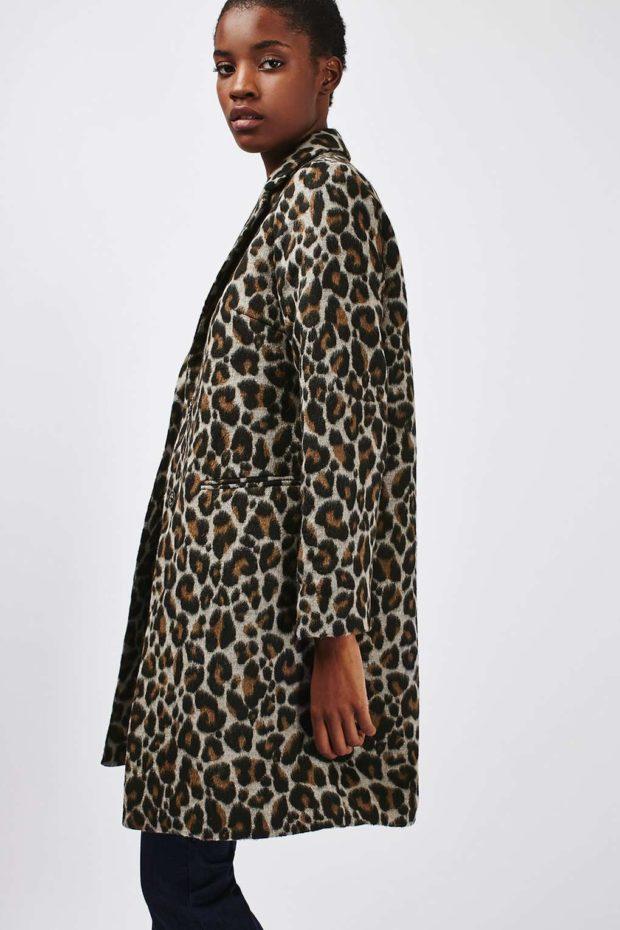 леопардовый принт пальто средняя длина