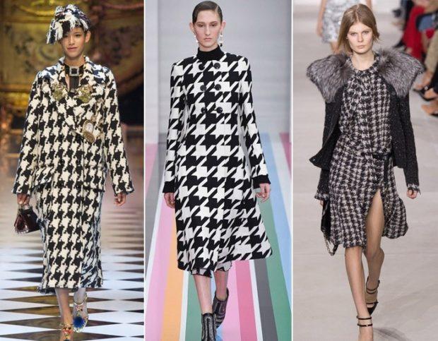 гусиный принт пальто миди платье с длины рукавом платье с разрезом