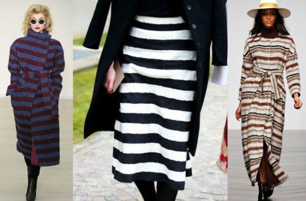 Модные принты осень зима 2019 2020: пальто в полоску юбка черно-белая