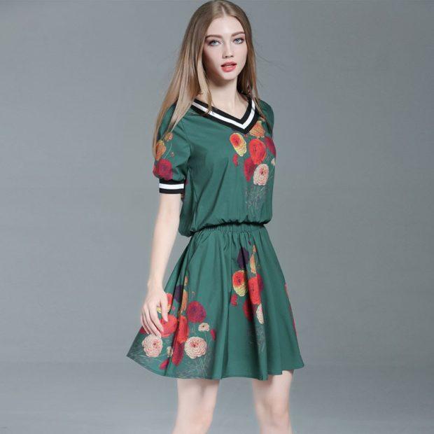 платье зеленое в цветы