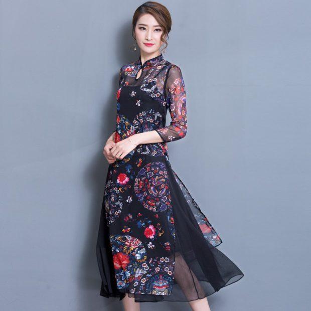 платье в цветы черное с шифоном
