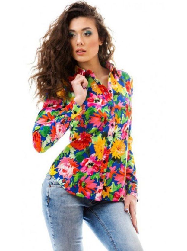 пиджак яркий в цветы