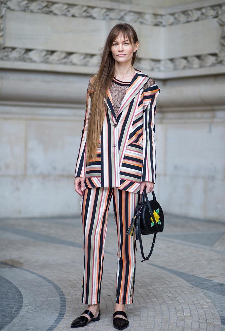 принт полоска пиджак брюки цветные
