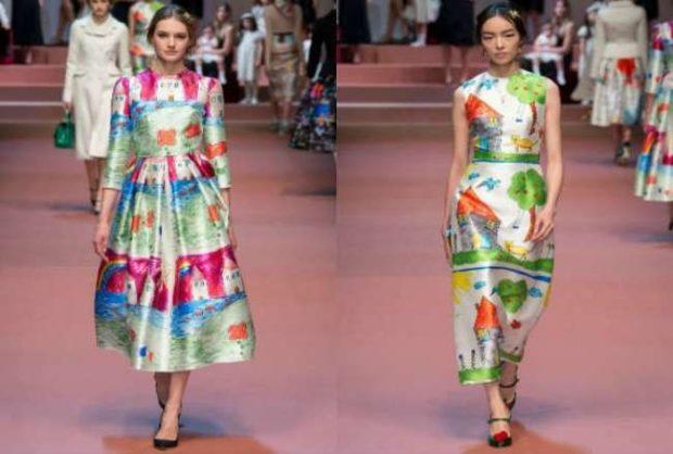 Модные принты осень зима 2019 2020: платья цветные миди с рукавом и без