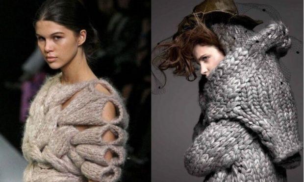 модные вязаные вещи 2018-2019: кофта вязаная с дырками серая крупная вязка оверсайз