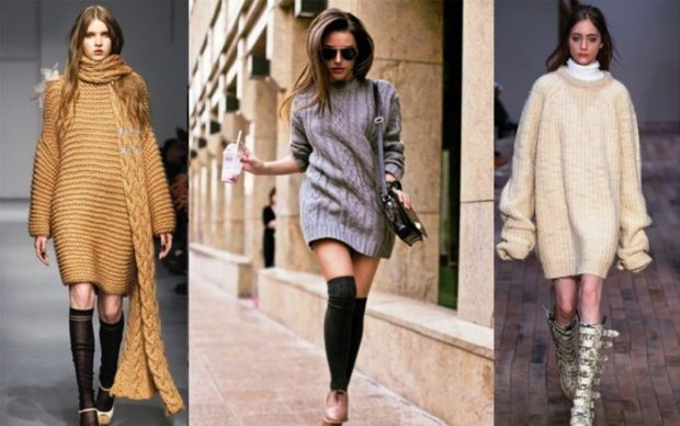 модные вязаные вещи 2018-2019: кардиганы крупная вязка коричневый серый белый