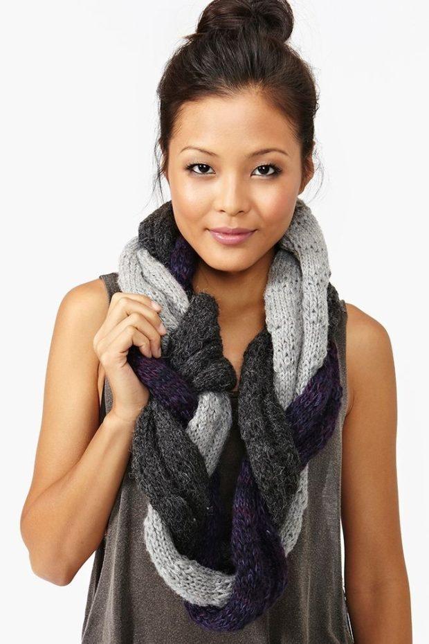 шарф вязаный косой