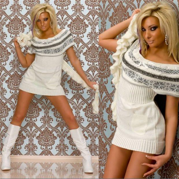 платье вязаное белое открытые плечи