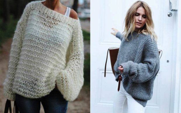 белый свитер вязаный оверсайз серый оверсайз