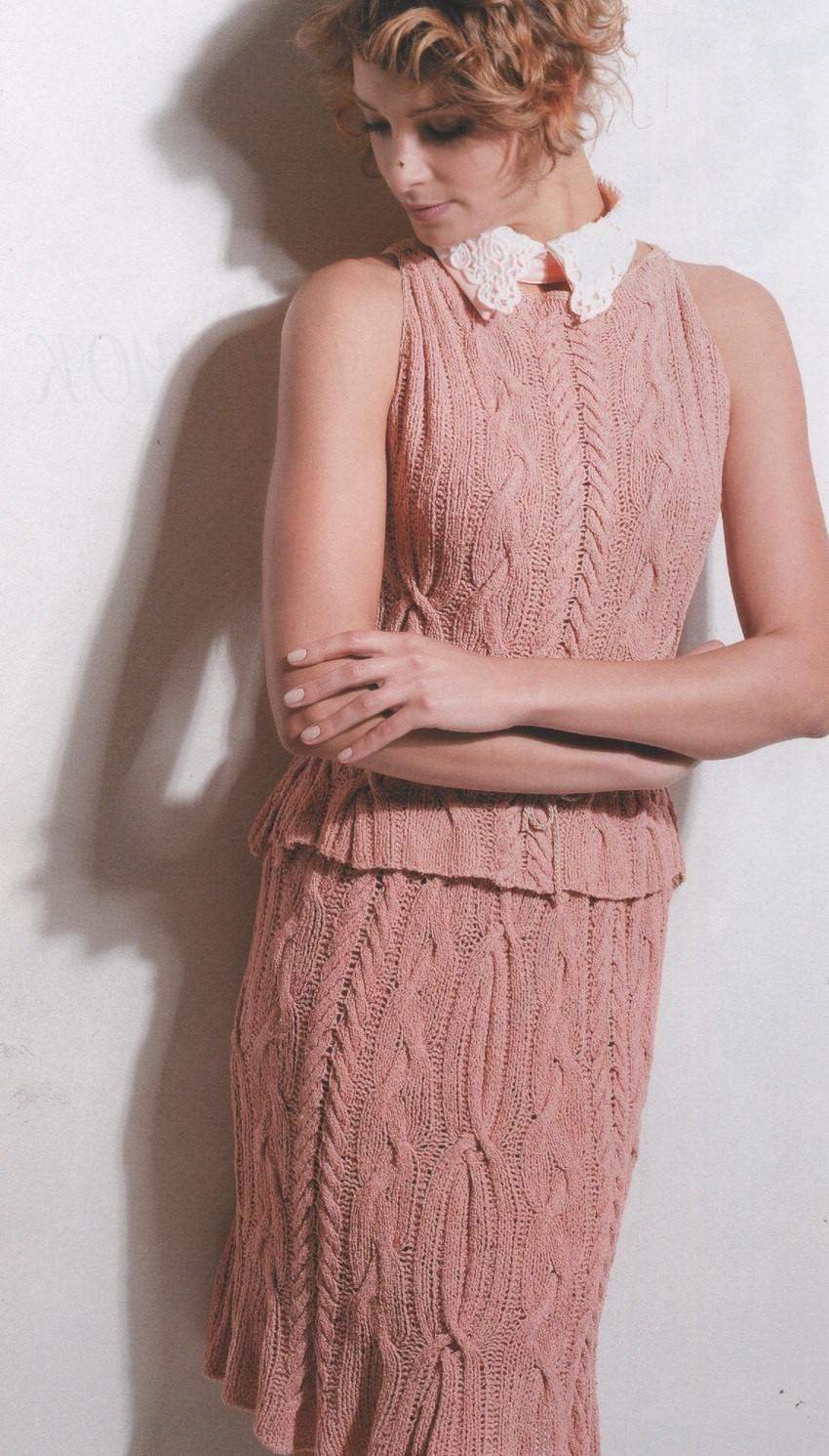 юбка вязаная майка вязаная розовая с узором