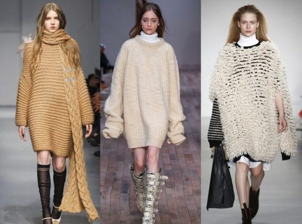 модные вязаные вещи 2018-2019: платья коричневый белый белый в сетку