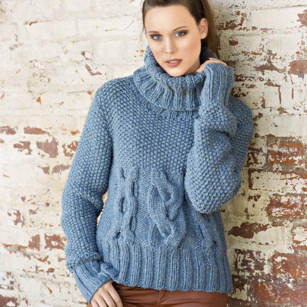 свитер вязаный обьемный с узором