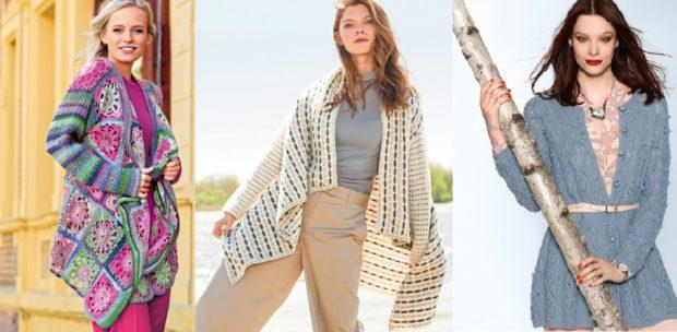 модные вязаные вещи 2018-2019: кардиган цветной белый в полоску серый под пояс