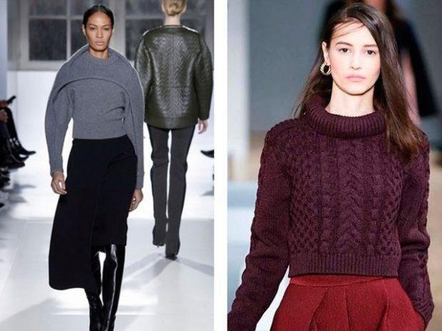 короткий серый свитер с оригинальным рукавом бордовый короткий свитер круглый ворот