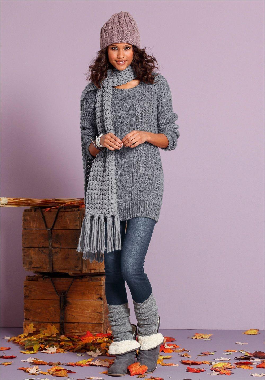 вязаный свитер длинный серый