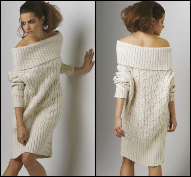 вязаное платье белое открытые плечи