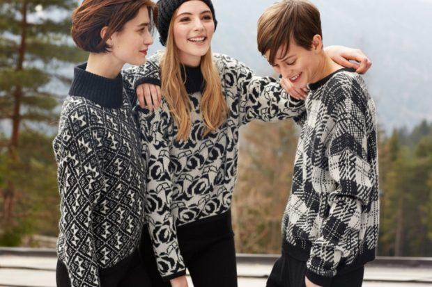 модные вязаные вещи 2018-2019: кофты короткие черные с белым мелкая вязка