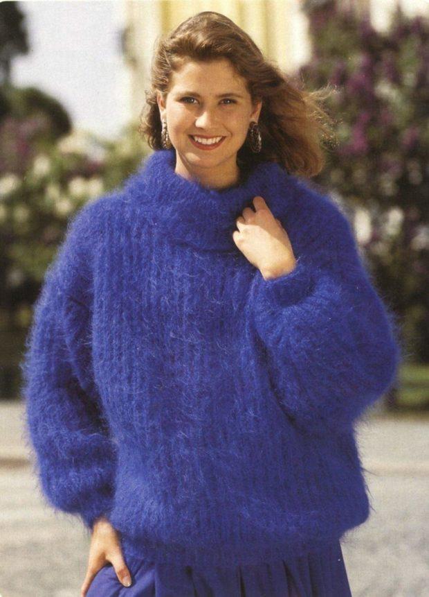 свитер мохеровый синий объемный
