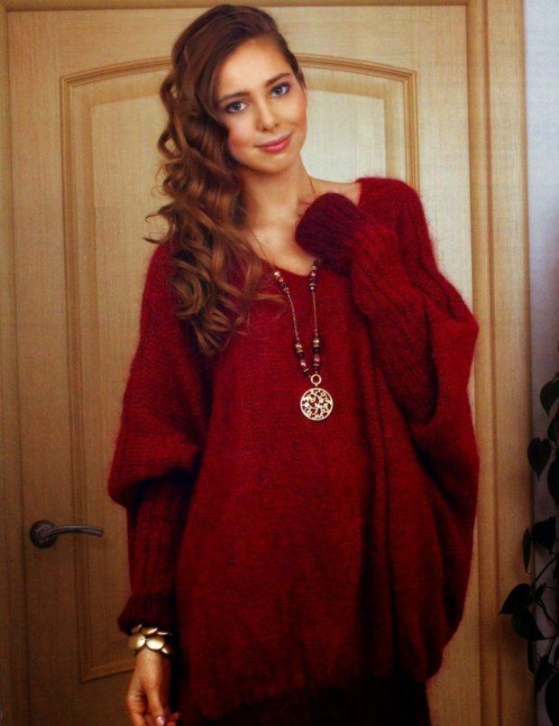 свитер мохеровый красный объемный