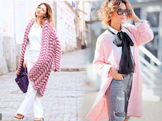вязаная верхняя одежда крупная вязка розовая накидка осенняя