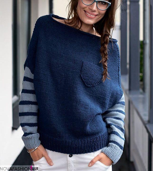 синий джемпер с рукавами в полоску