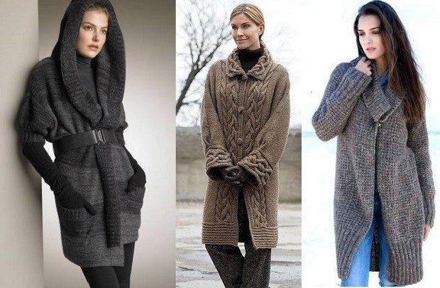 модные вязаные вещи 2018-2019: кардиган серый с капюшоном коричневый крупная вязка на змейке