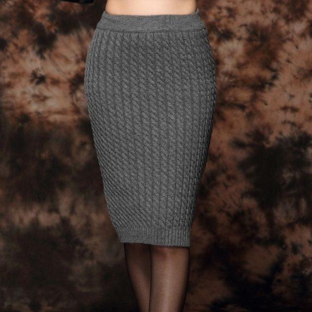 вязаная юбка серая мелкая вязки