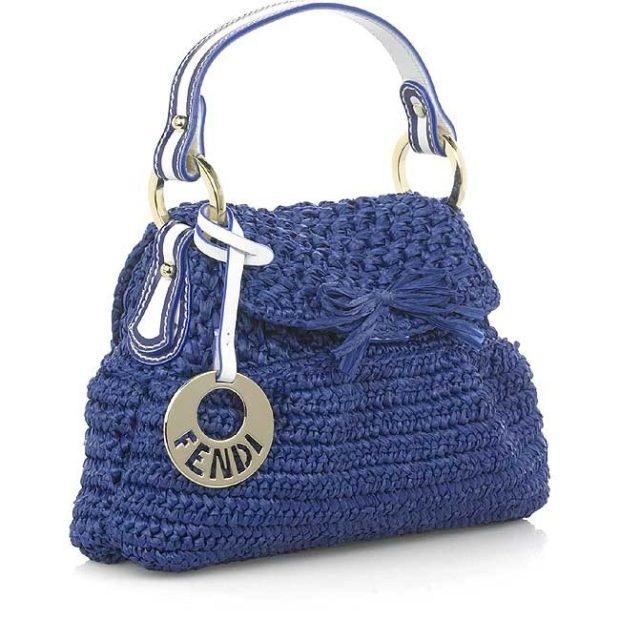 сумка вязаная синяя