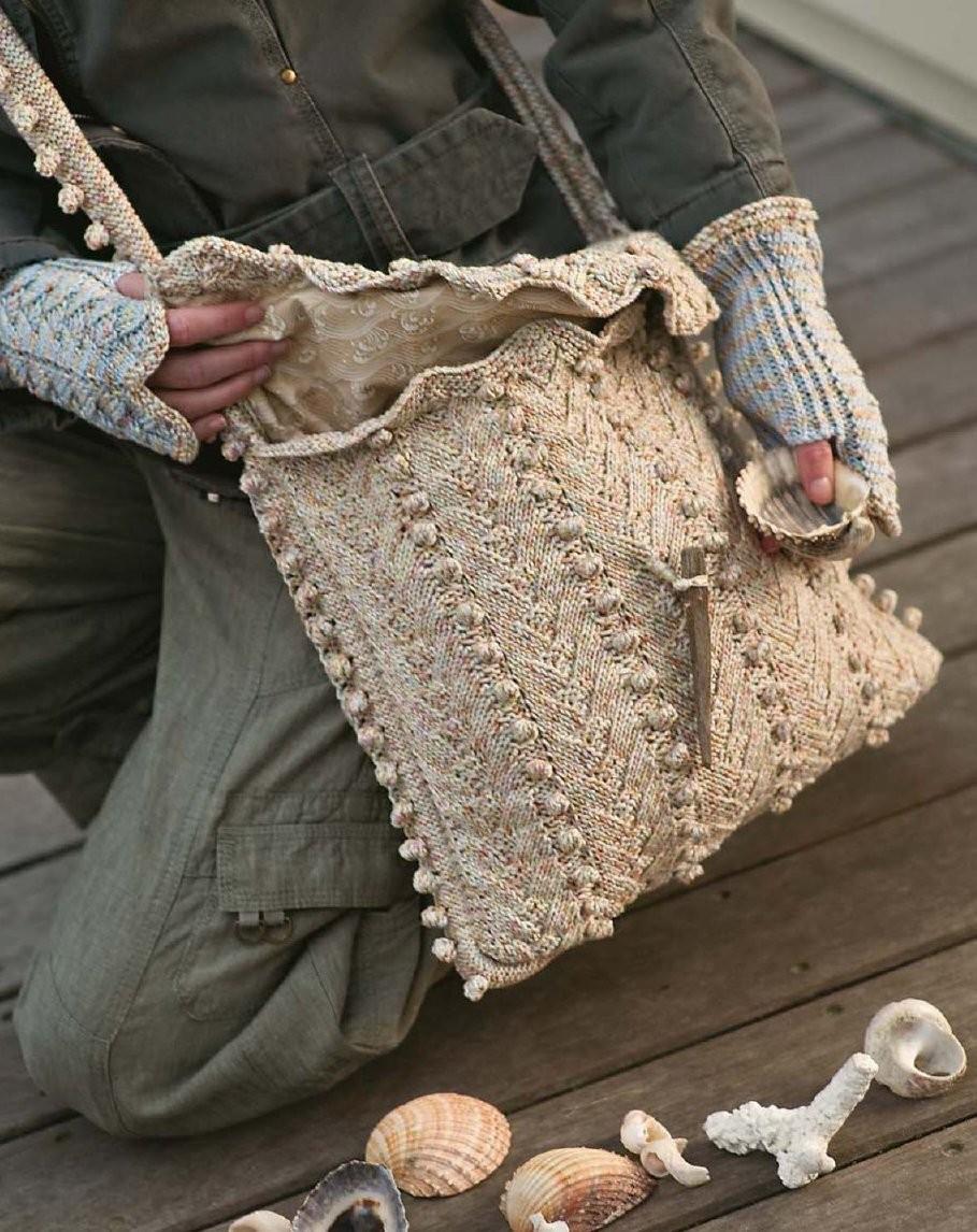коричневая сумка вязаная через плечо
