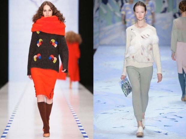 вязаные свитера с яркими аппликациями и меховыми вставками