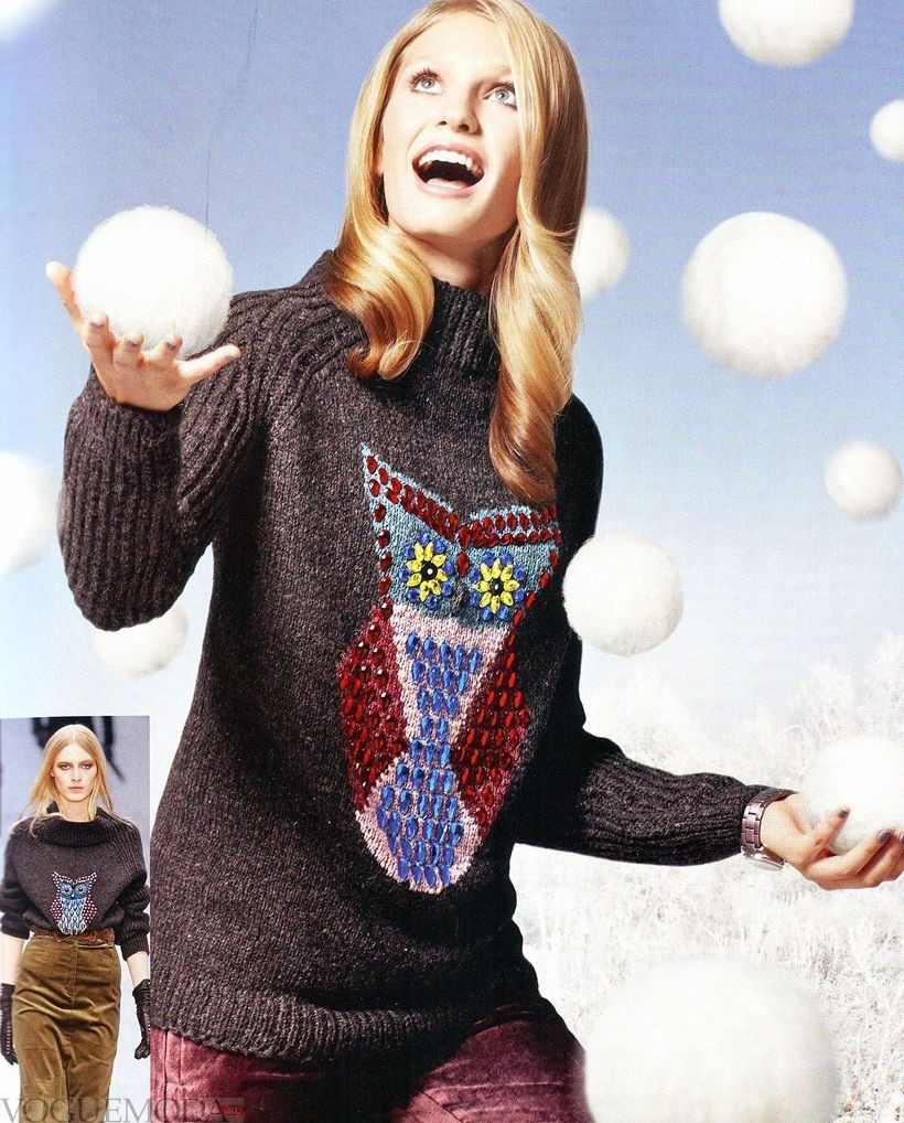 вязаный свитер с рисунком и аппликациями