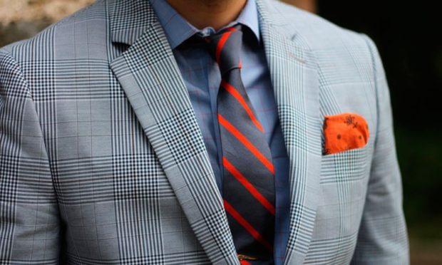 галстук серые в красную полоску
