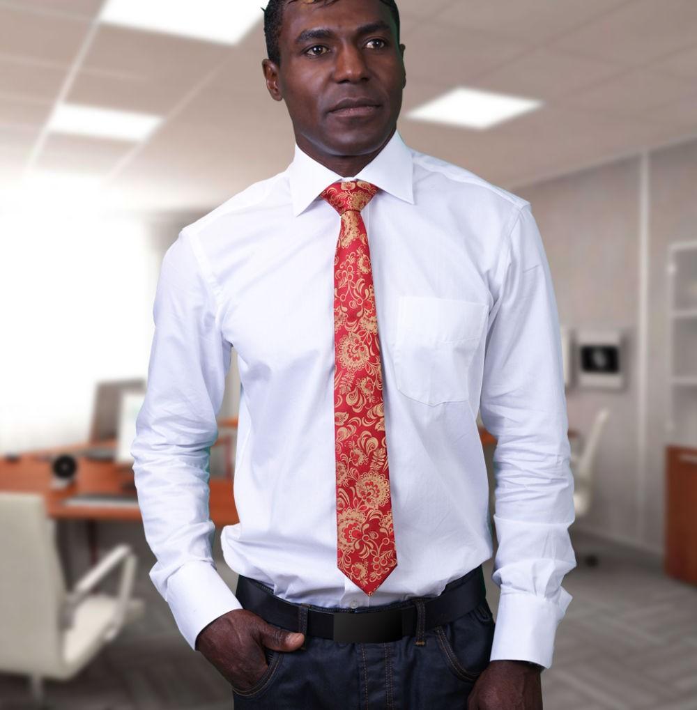 галстук красный с золотыми вензелями