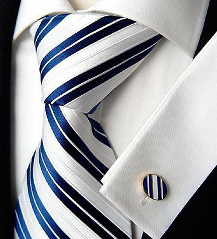 галстук белый с синими полосками