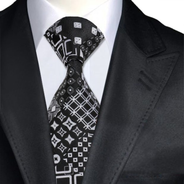 галстук черный с белым узором