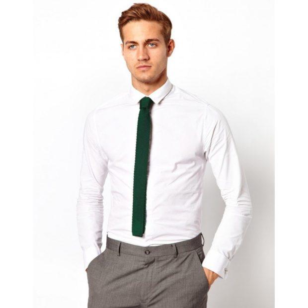 галстук зеленый тонкий