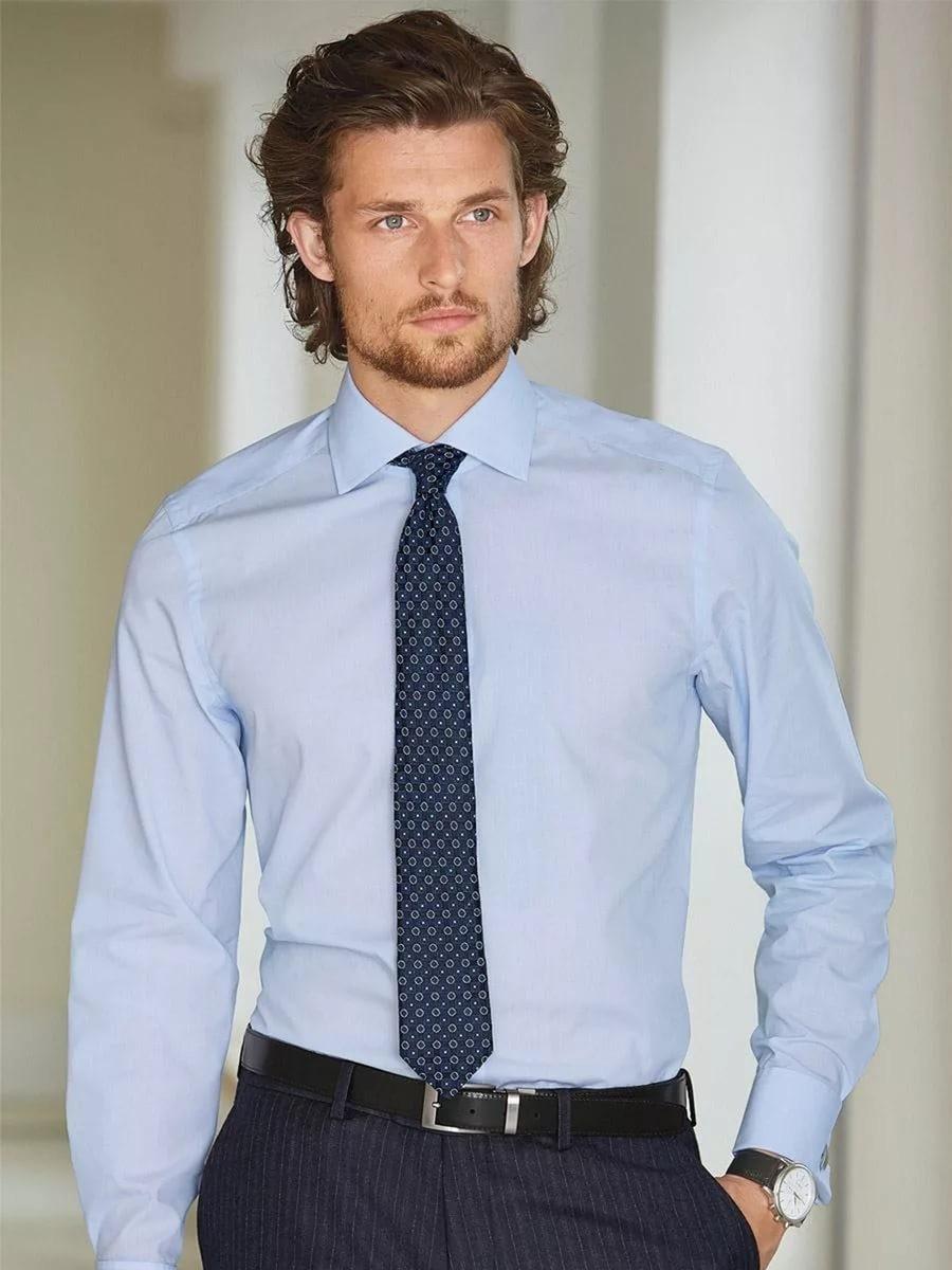 галстук синий с белым узором