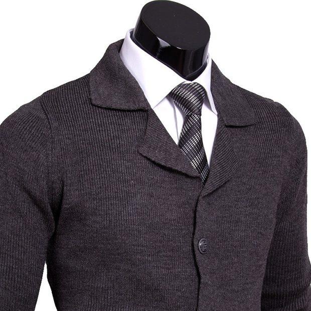 галстук черный с серыми полосками