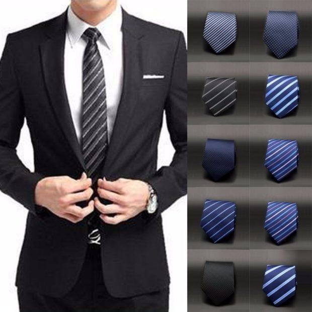 галстук черный в белую полоску