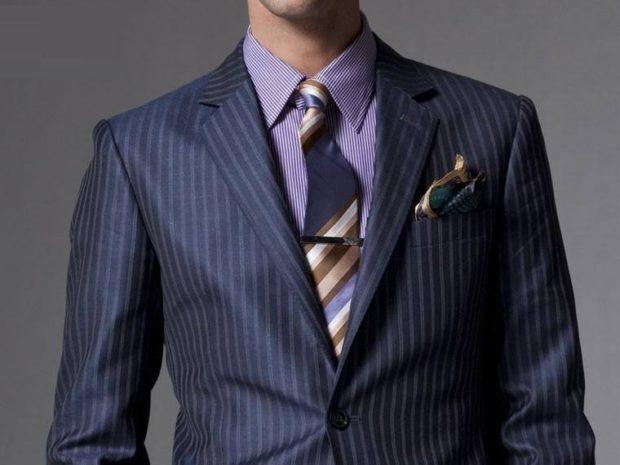 галстук синий шелковый в полоску широкую