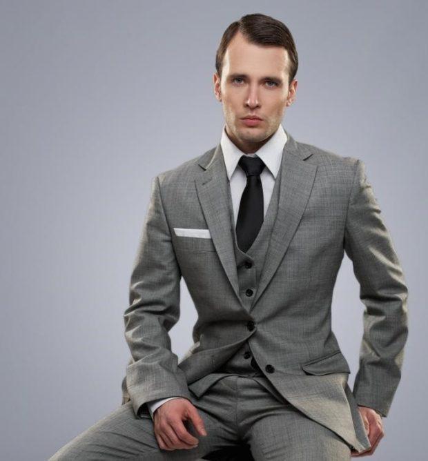 галстук черный средняя ширина