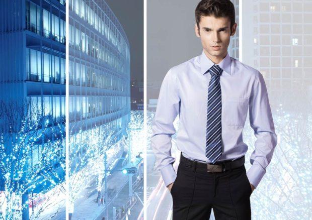 галстук синий в белую полоску