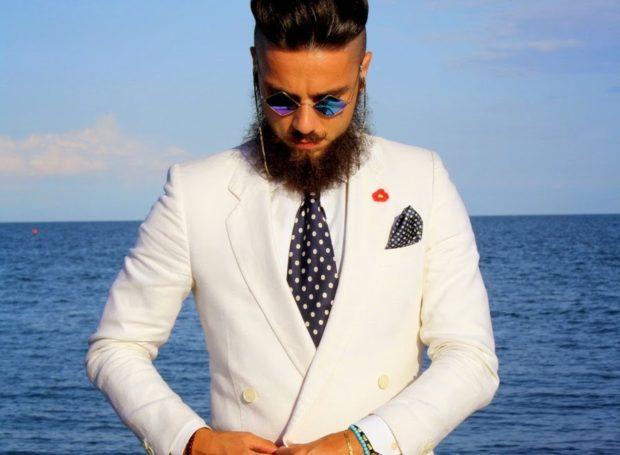 галстук черный в белый горох шелк