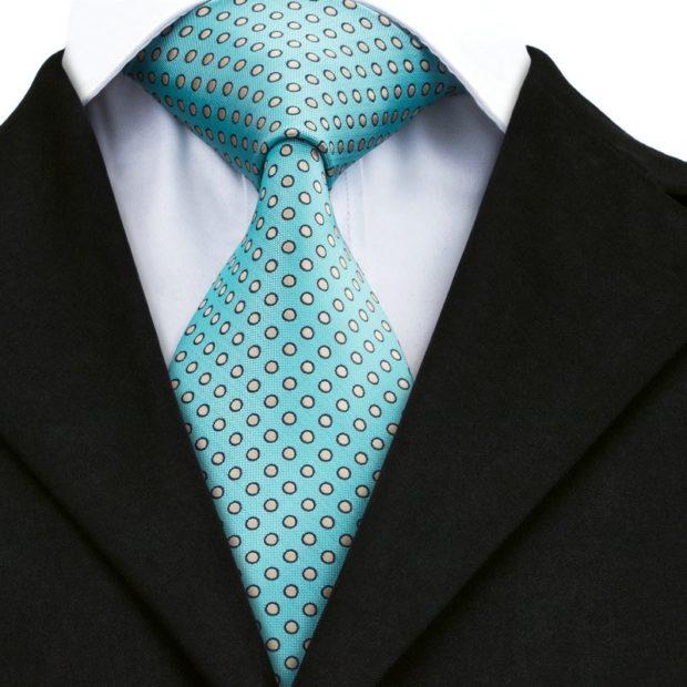 галстук бирюзовый в белый горох