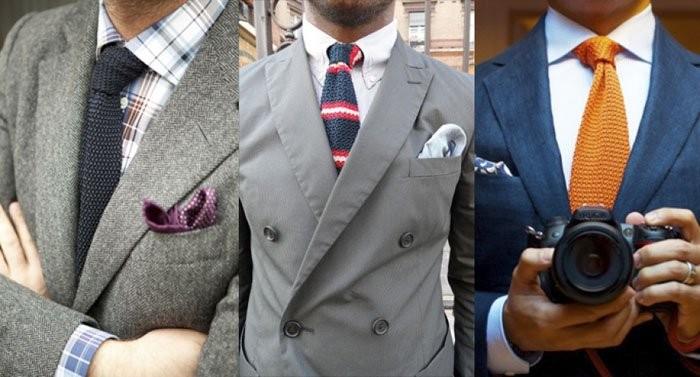 галстуки вязанные черный черный в полоску оранжевый