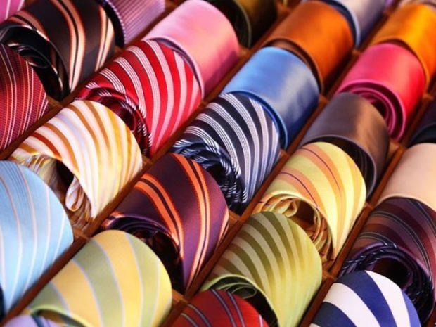галстуки яркие в полоски шелковые