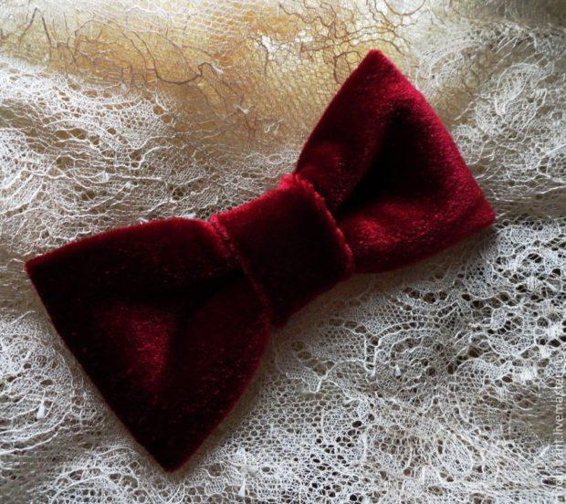 бархатный галстук бабочка красный